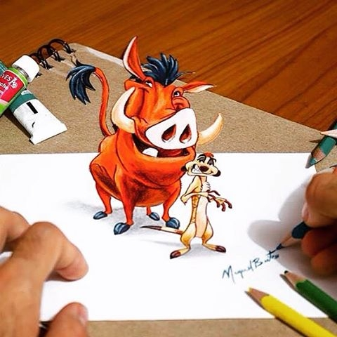 14-Timon-and-Pumbaa-Miguel-Brito-3D-Illusions-with-Drawings-and-Illustration-www-designstack-co