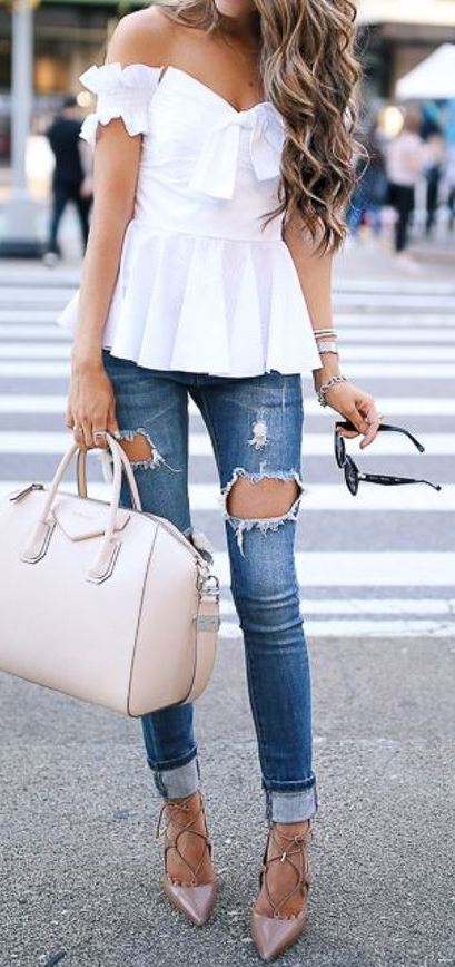 cute casual style: top + rips + bag + heels