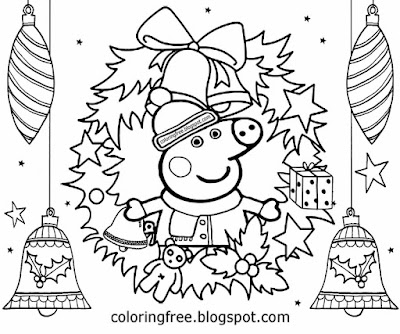 Winter very cute basic drawing suggestions Peppa pig Christmas coloring pages for kids to print out