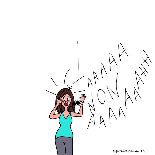 dessin illustration phobie araignée peur panique maman femme hurler accident