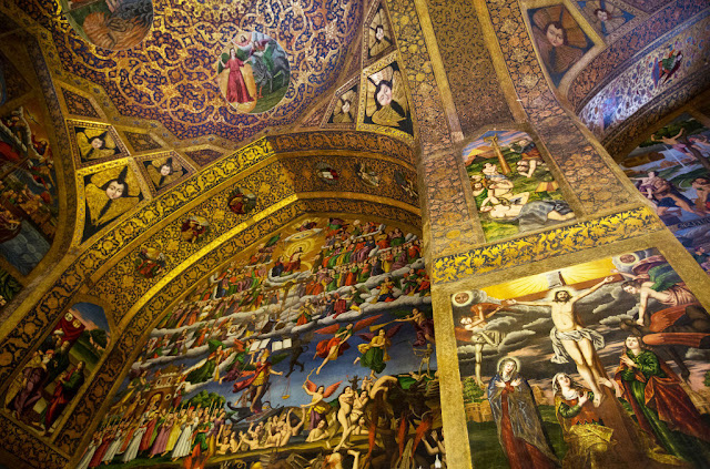 The paintings about the crucifixion of Jesus on the walls of Vank cathedral in Isfahan.