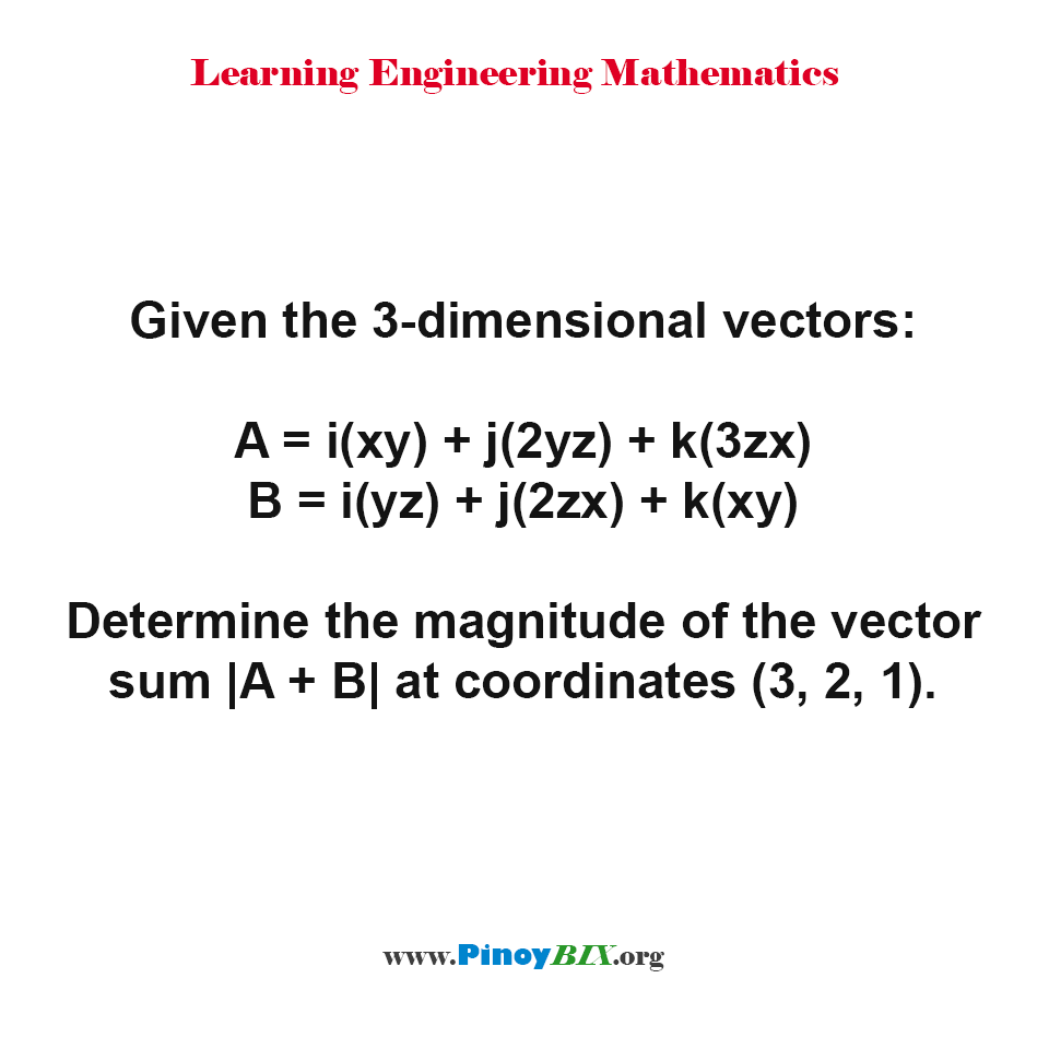 Determine the magnitude of the vector sum |A + B| at coordinates (3, 2, 1)