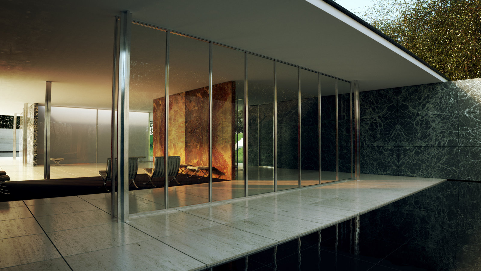 my magical attic barcelona pavilion design by ludwig mies van der rohe 1929. Black Bedroom Furniture Sets. Home Design Ideas