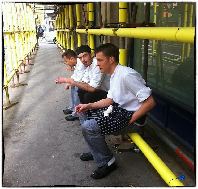 soho chefs taking a break, London 2015