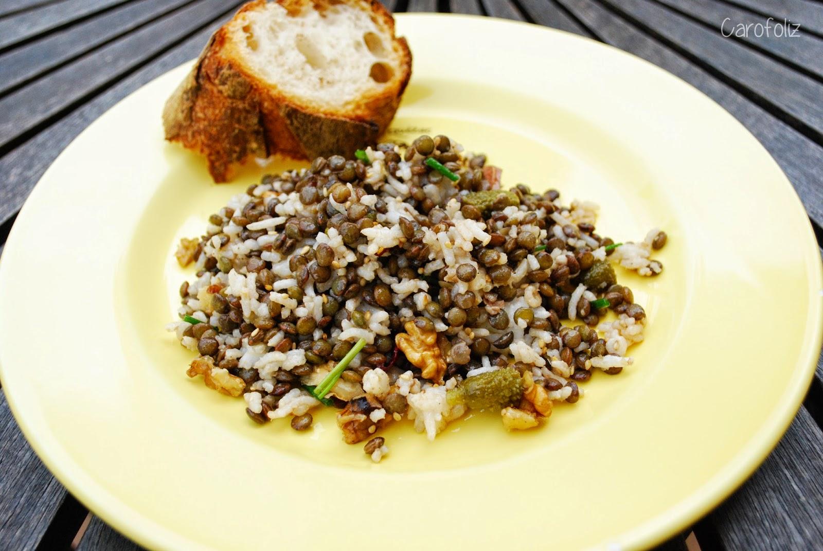 salade de lentilles vertes et riz carofoliz cuisine. Black Bedroom Furniture Sets. Home Design Ideas