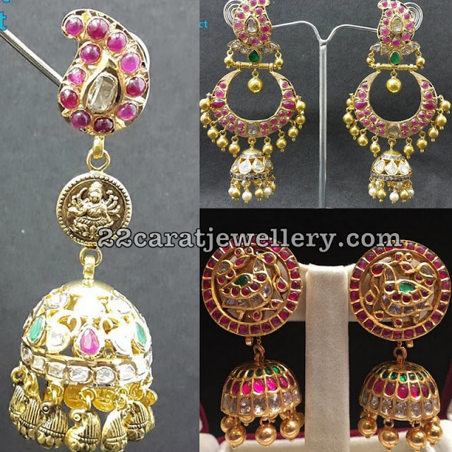 Chandbali Earrings and Jhumkas in Burmese Rubies