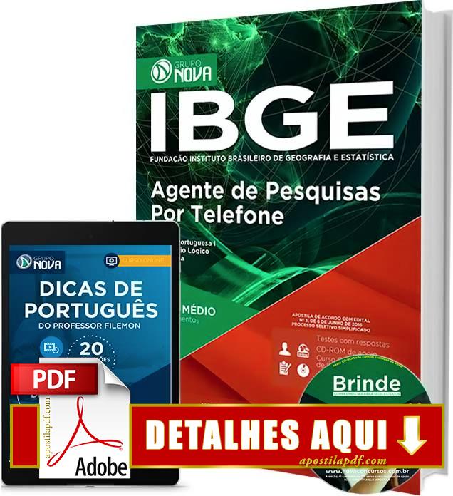 Apostila IBGE 2016 Agente de Pesquisas por Telefone Impressa