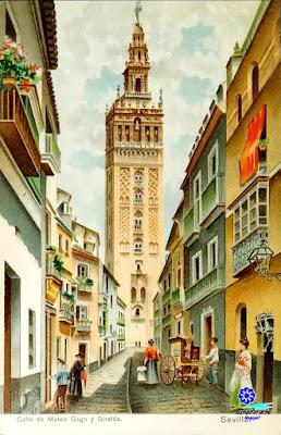 Sevilla - La Giralda desde Mateos Gago - 1905