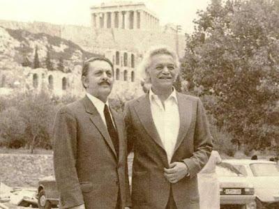 ο Μανώλης Γλέζος και ο Λάκης (Απόστολος) Σάντας  Ακρόπολη
