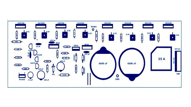 skema dan pcb rangkaian  power ampli 400watt 2SC5200