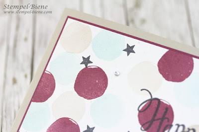 Geburtstagskarte Stampinup; Stylized Birthday; Incolor neu stampinup; Farbe Feige; Stampinup Feierstimmung; Teamgeburtstagskarten; Stempel-biene; Glitzereffekt auf Karten