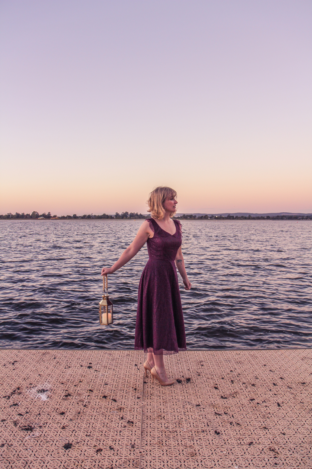 Liana of @findingfemme in Review Australia shimmering dress