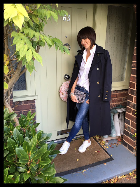 My Midlife Fashion, Zara Tweed Cross Body Bag, Wallis W Navy Military Coat, Massimo Dutti White Shirt, Zara skinny distressed denim, Mango white leather trainers