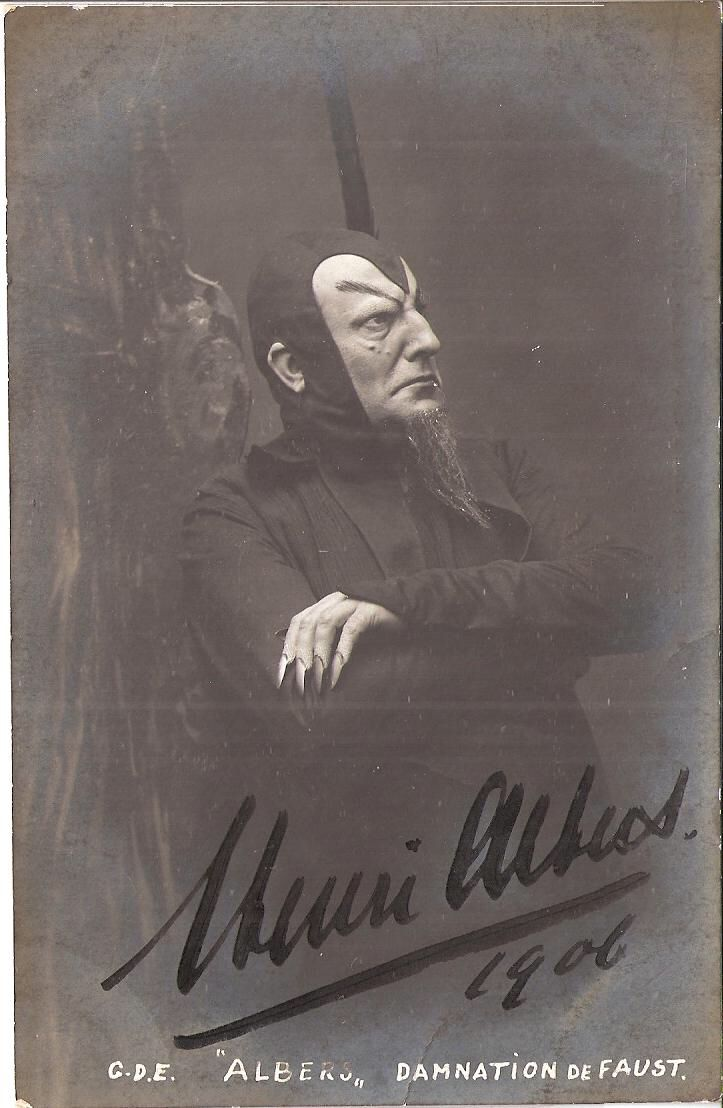 Stage actor Henri Albers as the Devil in a 1906 production of the Damnation of Faust. Redbad Standards and Other Stories of Hell. marchmatron.com