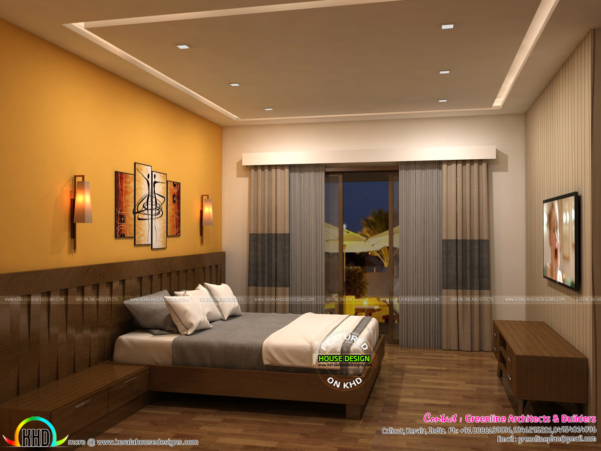 Living room and master bedroom interior designs kerala for Master bedroom interior design ideas