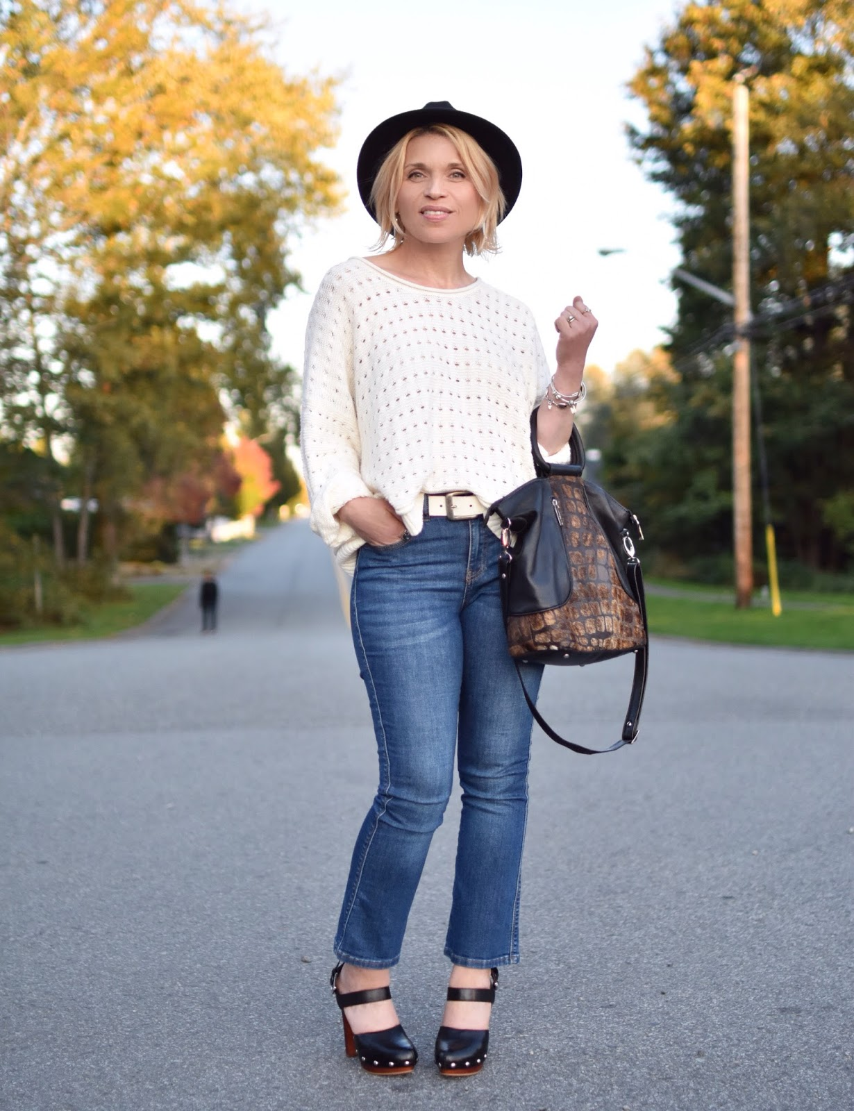 Outfit inspiration c/o Monika Faulkner - cropped flare jeans styled with a white sweater, platform heels, and a felt fedora