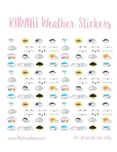 Free Kawaii Weather Stickers