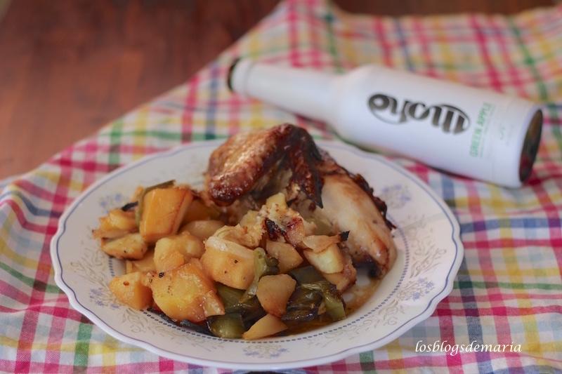 Pollo asado con verduras a la sidra Moho y Vinagre de módena