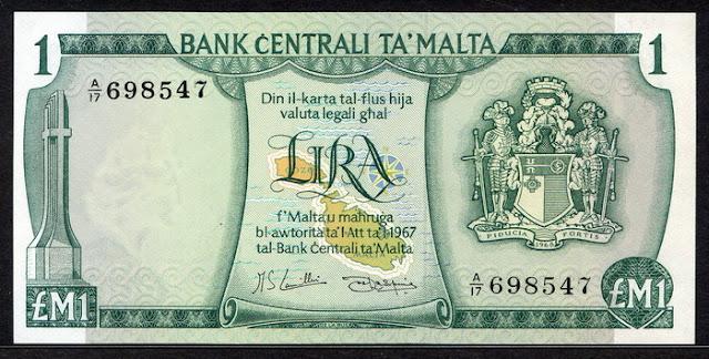 Malta currency Maltese lira banknote