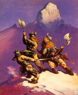 'Snow Giants' (1969) used in 1972 for the cover of the record 'Hard Attack' by the band Dust. artist  'Frank Frazetta