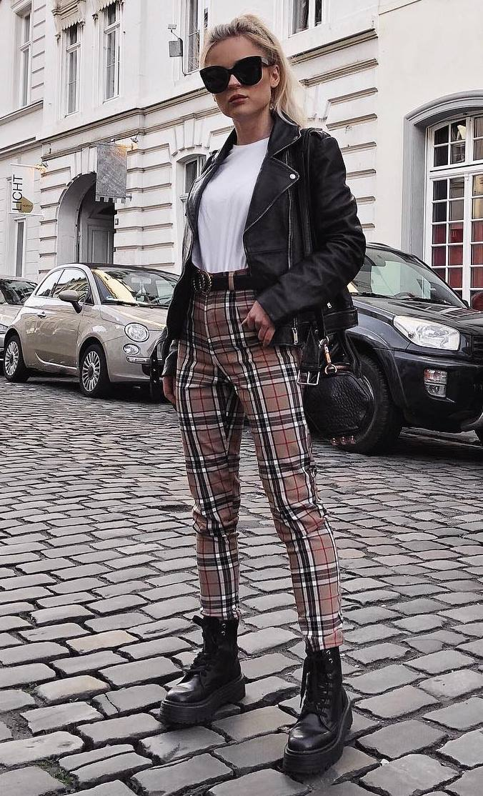 cute outfit / plaid pants + boots + black bag + biker jacket + tee