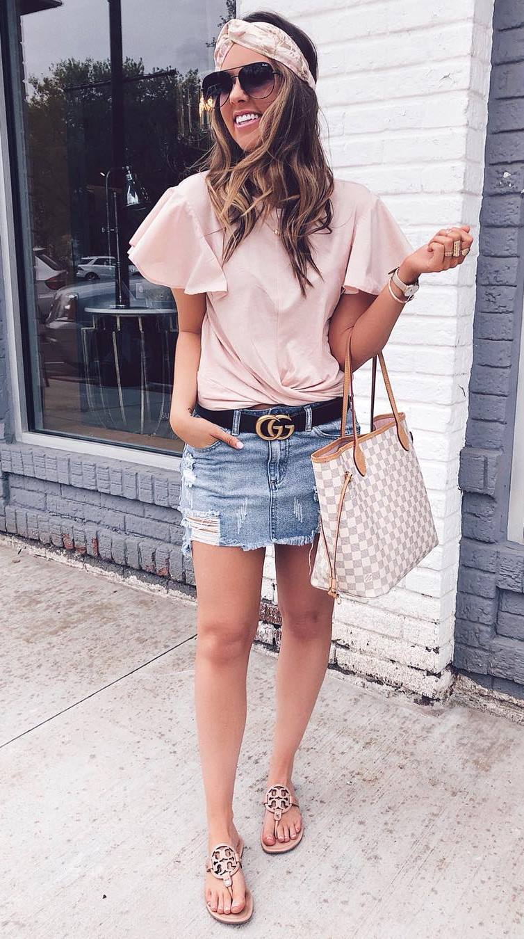 casual style addict / blush top + check bag + denim skirt + slides