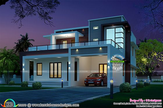 245 sq-m modern home night view