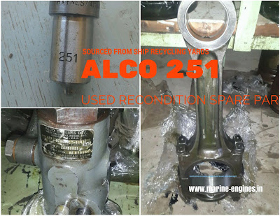 Alco Engine Spare parts for sale, Alco 251, nozzle, cylinder, head, liner, piston, rings, turbocharger, supplier, stockist, India