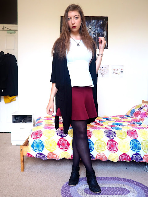 Captain Hook Disneybound outfit - white peplum top, red flared skirt, black cardigan, tights & heeled ankle boots