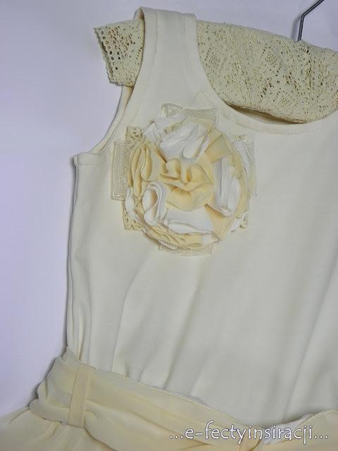sukienka dla dziewczynki z koła, szyfon i dzianina
