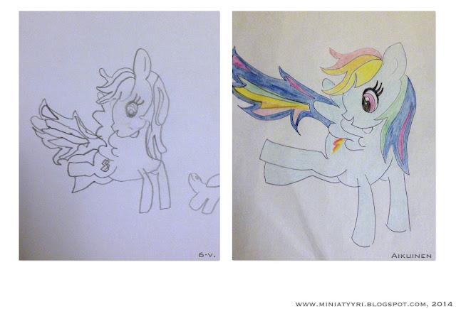 Kuusivuotias ja äiti piirtävät pieniä poneja - Six years old and mother drawing little ponies | Miniatyyria