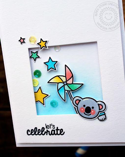 Sunny Studio Stamps: Let's Celebrate Koala Bear Card by Vanessa Menhorn (using Stars & Stripes and Comfy Creatures)