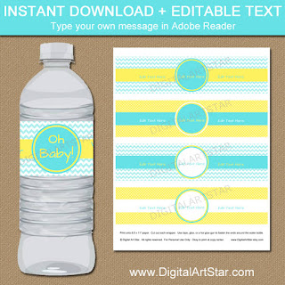 baby boy shower decorations - yellow and aqua water bottle labels for baby shower
