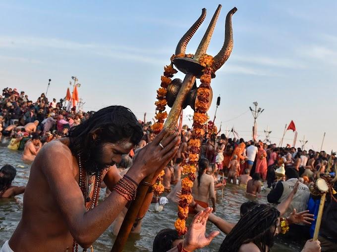 Over 17 lakh devotees have taken a dip at holy rivers Ganga, Yamuna and Saraswati on the first day of the Prayagraj Kumbh Mela
