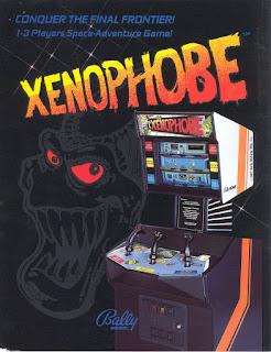 Xenophobe+arcade+game+portable+retro+run & gun+art+flyer