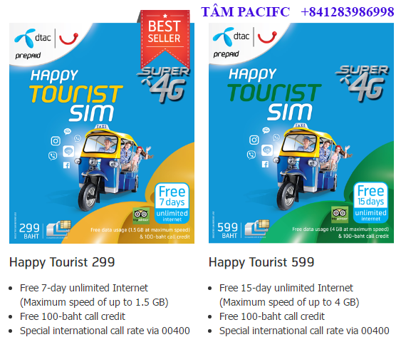 All dtac Tourist SIMs also provide special rate of international calls via 00400