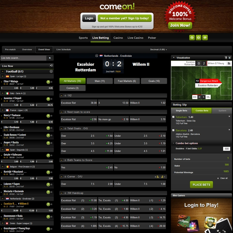 ComeOn Live Betting Offers