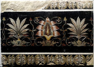 Fragment of the border framing the famous Capitoline Doves mosaic diplayed at the Musei Capitolini in Rome