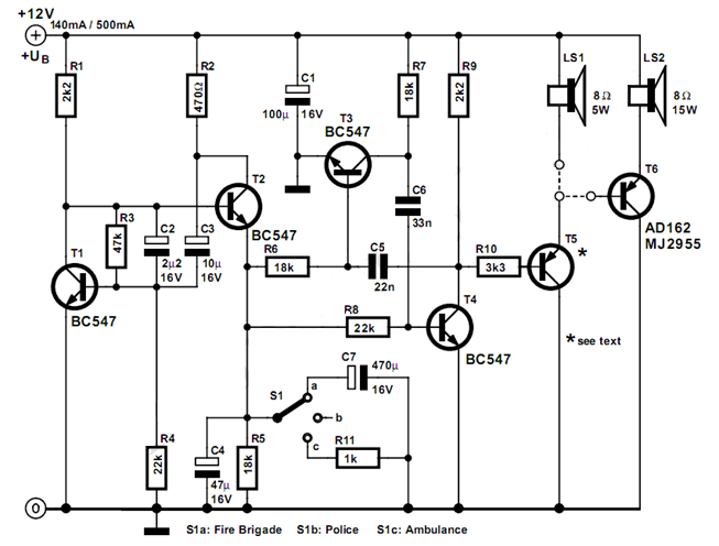 electronic siren circuit using bc337