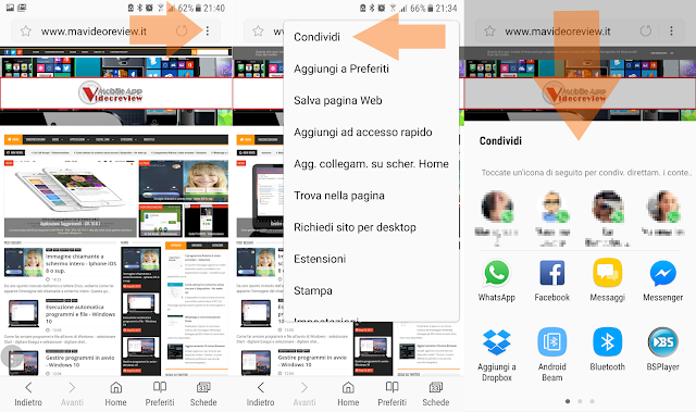 Android - Browser Samsung - Condividi link