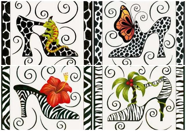 Zapatos Fantasía con Pieles de Animales: Etiquetas o Toppers para Imprimir Gratis.