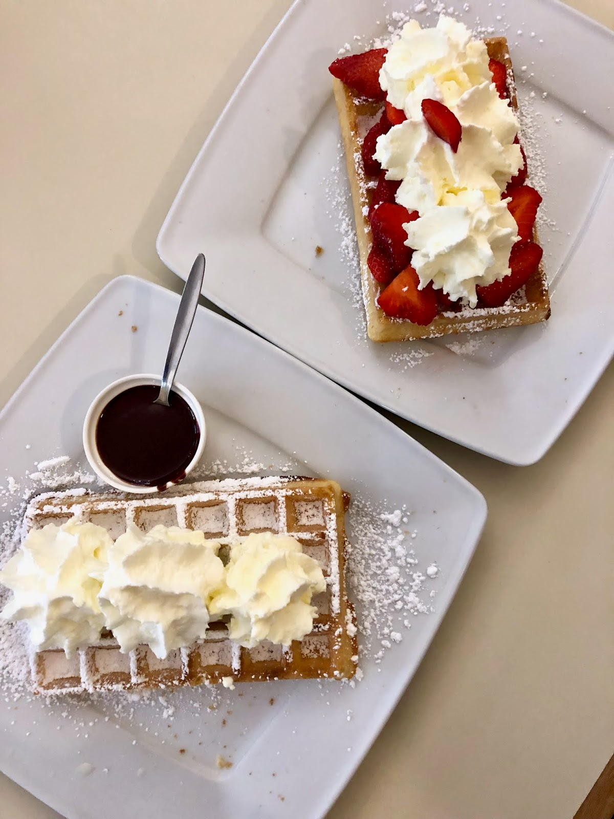 Food blogger Kathleen Harper's Brussels waffles from Mokafé in Belgium