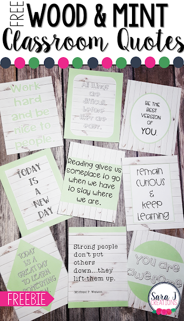 FREE wood and mint themed classroom quotes. Perfect for a farmhouse or wood shiplap theme. Great for motivating your students.