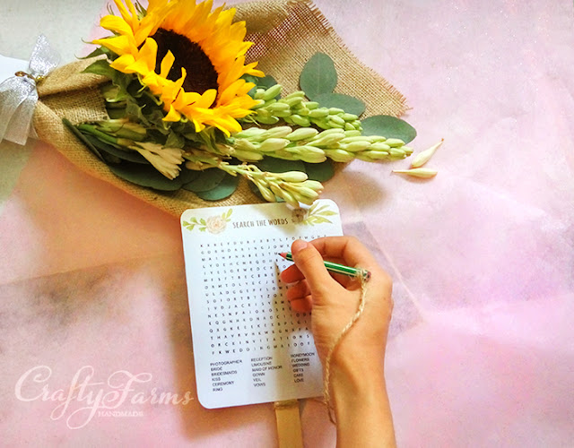 Word Search Wedding Program Fans. Creative wedding program fans in Malaysia