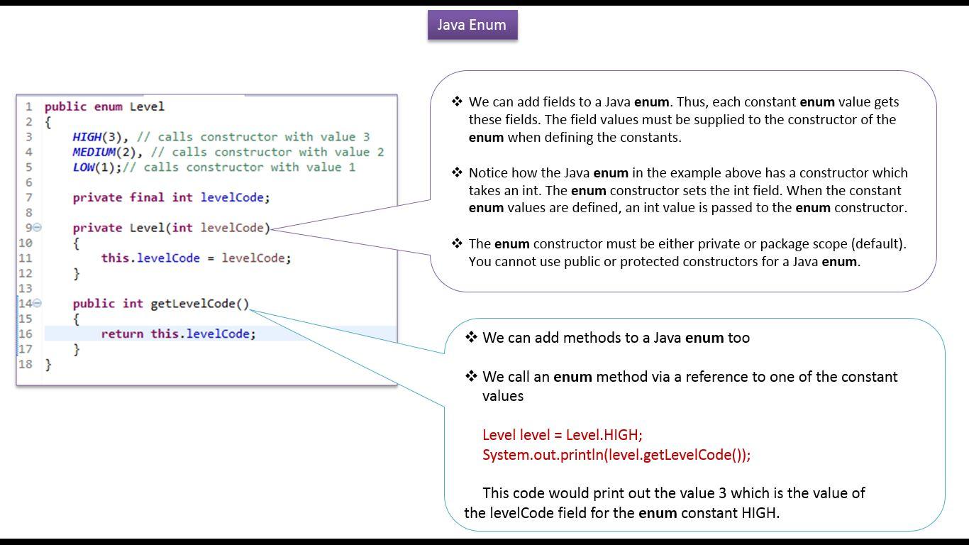 Java ee java tutorial enum in javahow to define a constructor java tutorial enum in javahow to define a constructor and method in enum level baditri Gallery