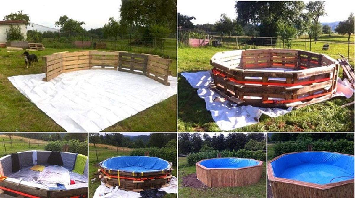 Make a beautiful swimming pool with 10 old pallets and 80 for Uses for old swimming pools