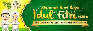 Contoh Spanduk, Banner, Baleho ucapan Lebaran Idul Fitri 2019 warna Kuning Hijau