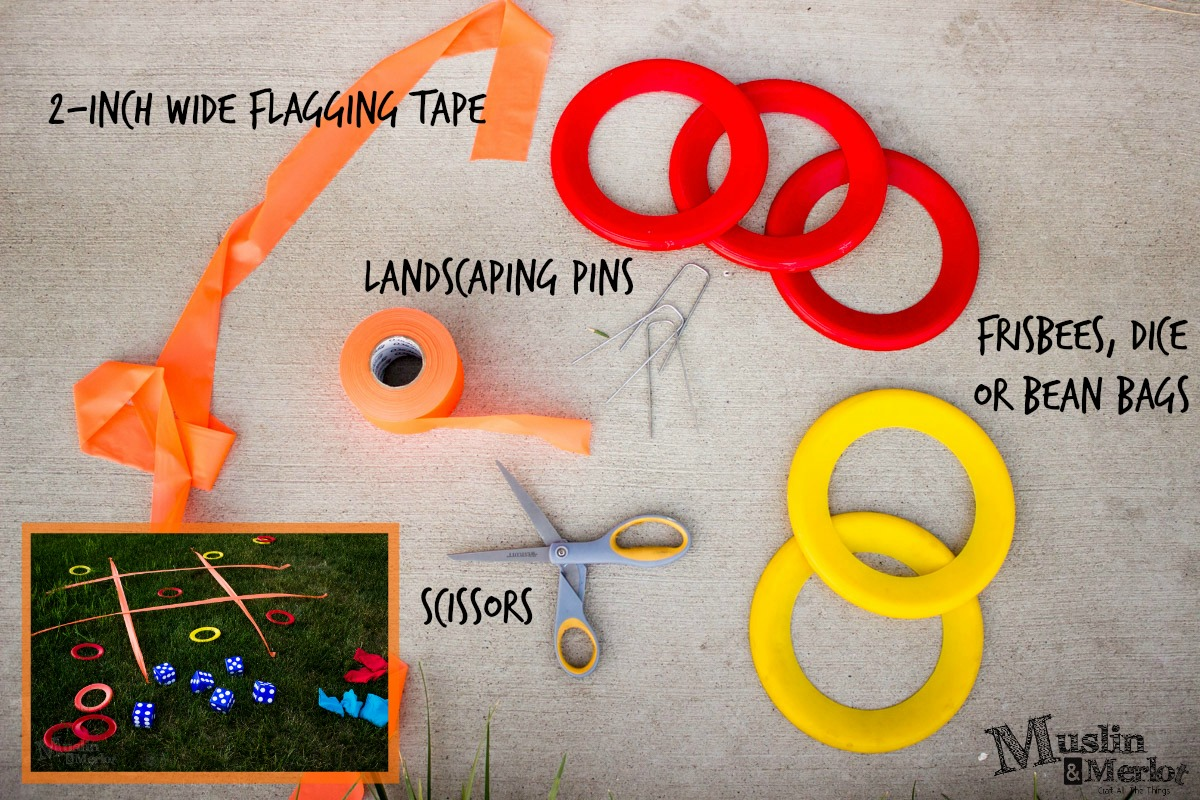 flagging tape for tic tac toe or other yard games! - muslin