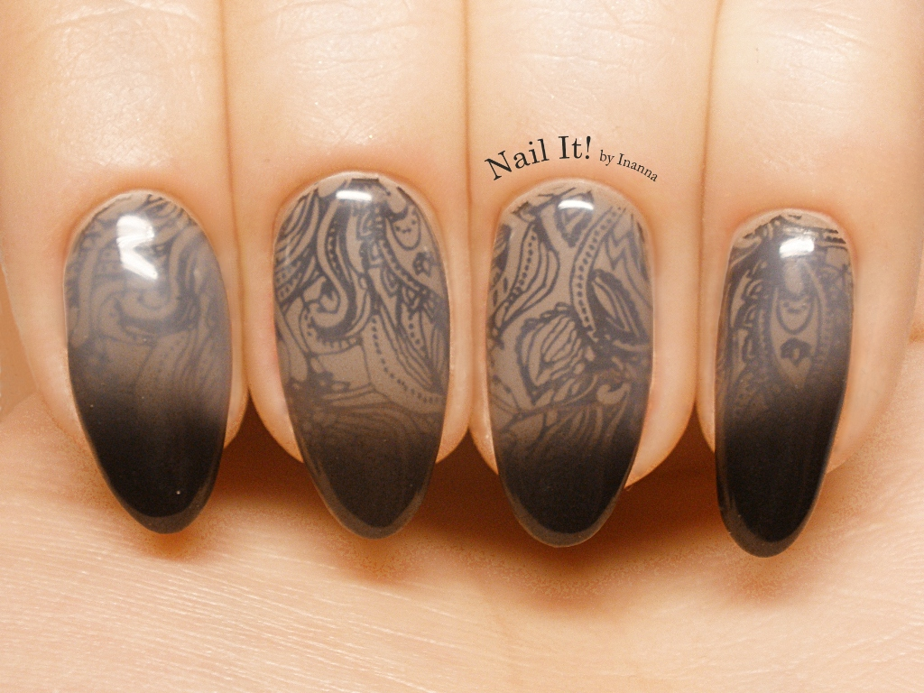 "Dance Legend ""Under Black"" gel polish thermal top coat - REVIEW and NAILART"