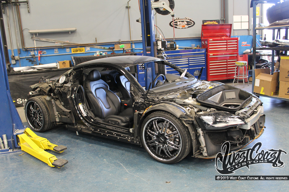 west coast customs shows off an audi r8 doing donuts with bernie. Black Bedroom Furniture Sets. Home Design Ideas